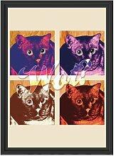 Gerahmtes Wandbild Pop-art cat