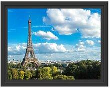 Gerahmtes Wandbild Riesiger Eiffelturm in Paris