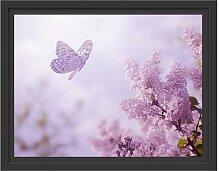 Gerahmtes Wandbild Schmetterling Kirschblüten