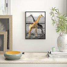 Gerahmtes Wandbild schöne Giraffen in der Steppe