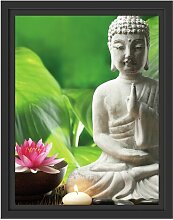 Gerahmtes Wandbild Seerose Buddha Statue East