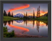 Gerahmtes Wandbild Sonnenaufgang Berglandschaft