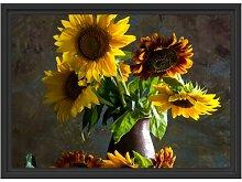 Gerahmtes Wandbild Sonnenblumen in edler Vase