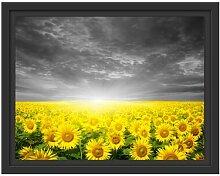 Gerahmtes Wandbild Sonnenblumen Sonnenuntergang