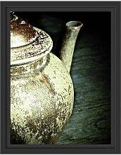 Gerahmtes Wandbild Teekanne aus Keramik