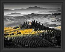 Gerahmtes Wandbild Toskana Landschaft mit Feldern