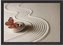Gerahmtes Wandbild Zen Schmetterling