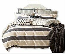 Gereinigte Baumwolle Braun grau Streifen Einfache Heimtextilien Vierteilige Blatt Bettwäsche Tasche Kissenbezug