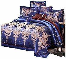 Gereinigte Baumwolle Dunkelblau Satin Jacquard Einfache Heimtextilien Vierteilige Bettdecke Bettwäsche Tasche Kissenbezug