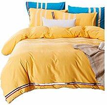 Gereinigte Baumwolle Gelb Einfache Heimtextilien Vierteilige Blatt Bettwäsche Tasche Kissenbezug