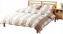 Gereinigte Baumwolle Gittermuster Einfache Heimtextilien Vierteilige Blatt Bettwäsche Tasche Kissenbezug