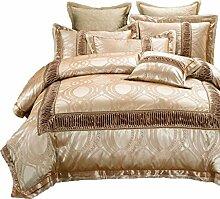 Gereinigte Baumwolle Golden Einfache Heimtextilien Vierteilige Blatt Bettwäsche Tasche Kissenbezug