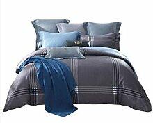 Gereinigte Baumwolle Grau-schwarz Einfache Heimtextilien Vierteilige Blatt Bettwäsche Tasche Kissenbezug