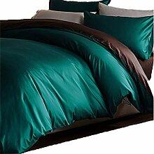 Gereinigte Baumwolle Grün braun Satin Einfache Heimtextilien Vierteilige Blatt Bettwäsche Tasche Kissenbezug