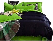 Gereinigte Baumwolle Grün und dunkelblau Einfache Heimtextilien Vierteilige Blatt Bettwäsche Tasche Kissenbezug