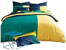 Gereinigte Baumwolle Grün und gelb Einfache Heimtextilien Vierteilige Blatt Bettwäsche Tasche Kissenbezug