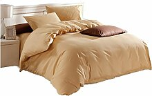 Gereinigte Baumwolle Kamelgelb Einfache Heimtextilien Vierteilige Blatt Bettwäsche Tasche Kissenbezug