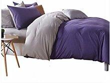 Gereinigte Baumwolle lila Einfache Heimtextilien Vierteilige Blatt Bettwäsche Tasche Kissenbezug