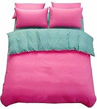 Gereinigte Baumwolle Rosa und Grün Einfache Heimtextilien Vierteilige Blatt Bettwäsche Tasche Kissenbezug