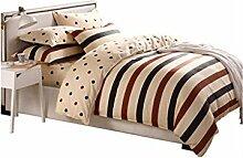 Gereinigte Baumwolle Streifen Einfache Heimtextilien Vierteilige Blatt Bettwäsche Tasche Kissenbezug