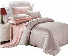 Gereinigte Baumwolle Tencel Leichtes Pulver Einfache Heimtextilien Vierteilige Blatt Bettwäsche Tasche Kissenbezug