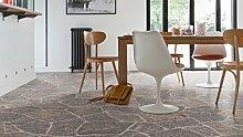 Gerflor TEXLINE® PVC Vinyl Bodenbelag - 0617 Granite Dark Grey Linoleum Rolle Fußbodenbelag Vinylbahnen Steindekor, Fliesenoptik - Breite 4m