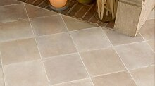 Gerflor TEXLINE® PVC Vinyl Bodenbelag - 1298 Prado Bianco Linoleum Rolle Fußbodenbelag Vinylbahnen Steindekor, Fliesenoptik - Breite 4m
