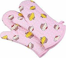 GERMER 1 Paar Dick Baumwolle Ofen Grill Grill-Handschuhe,Pink