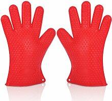 GERMER 1 Paar Silikon-Handschuhe Hitzebeständige Ofenhandschuhe BBQ-Grill-Handschuhe,Red