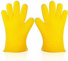 GERMER 1 Paar Silikon-Handschuhe Hitzebeständige Ofenhandschuhe BBQ-Grill-Handschuhe,Yellow