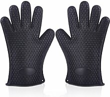 GERMER 1 Paar Silikon-Handschuhe Hitzebeständige Ofenhandschuhe BBQ-Grill-Handschuhe,Black