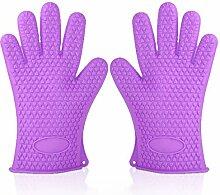 GERMER 1 Paar Silikon-Handschuhe Hitzebeständige Ofenhandschuhe BBQ-Grill-Handschuhe,Purple