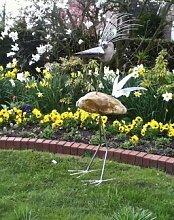 Gertrud Gartenfigur und Gartendeko als Steinvogel aus Edelstahl und Stein Größe X ca 120 cm hoch Design Tiedemann