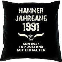 Geschenk 27 Geburtstag Geschenkidee Deko Kissen und Urkunde Jahrgang 1991 Farbe: schwarz