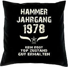 Geschenk 40 Geburtstag Geschenkidee Deko Kissen und Urkunde Jahrgang 1978 Farbe: schwarz
