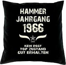 Geschenk 52 Geburtstag Geschenkidee Deko Kissen und Urkunde Jahrgang 1966 Farbe: schwarz