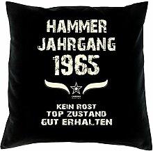 Geschenk 53 Geburtstag Geschenkidee Deko Kissen und Urkunde Jahrgang 1965 Farbe: schwarz