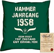 Geschenk 60. Geburtstag :-: Geschenkidee Dekokissen Jahreszahl Aufdruck :-: Hammer Jahrgang 1958 :-: Größe: 40x40cm und Urkunde Farbe: dunkelgrün