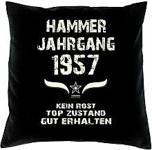 Geschenk 61 Geburtstag Geschenkidee Deko Kissen und Urkunde Jahrgang 1957 Farbe: schwarz