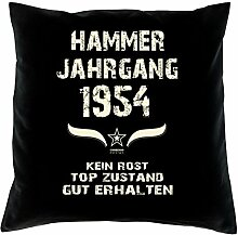 Geschenk 64 Geburtstag Geschenkidee Deko Kissen und Urkunde Jahrgang 1954 Farbe: schwarz
