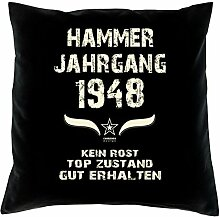 Geschenk 70 Geburtstag Geschenkidee Deko Kissen und Urkunde Jahrgang 1948 Farbe: schwarz