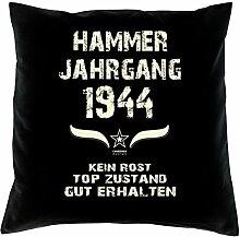 Geschenk 74 Geburtstag Geschenkidee Deko Kissen und Urkunde Jahrgang 1944 Farbe: schwarz