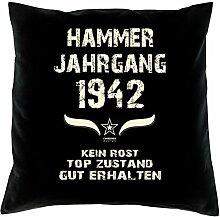 Geschenk 76 Geburtstag Geschenkidee Deko Kissen und Urkunde Jahrgang 1942 Farbe: schwarz