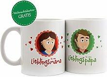 Geschenk Eltern * Set Mama Tasse + Papa Tasse * Geschenk Muttertag - Geschenke für Vatertag – Geschenk für Männer - Geschenke für Mütter - Muttertag Geschenke - Vatertag Geschenk - MyOma