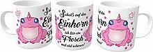 Geschenk Foto Tasse Becher Coffee Cup Einhorn Frosch Spühlmaschinenfest weiß