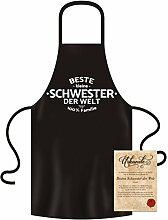 Geschenk für die Beste kleine Schwester der Welt Coole Kochschürzen mit Gratis Urkunde Farbe:schwarz