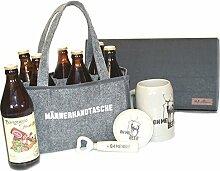 Geschenk für Männer, 4 tlg.Set, Bierkrug, Bierdeckel, Flaschenöffner Männerhandtasche