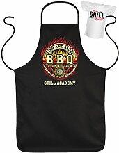 Geschenk für Männer Schürze zur Grillfeier BBQ Grill Academy Set Set mit Mini T-Shirt Grillparty Grillen Griller Grillfan Männergrill