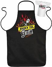 Geschenk für Männer Schürze zur Grillfeier Born to Grill Set Set mit Mini T-Shirt Grillparty Grillen Griller Grillfan Männergrill