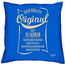 Geschenk Geschenkidee zum 20. Geburtstag Kissen mit Füllung :-: Original seit 20 Jahren :-: Geburtstagsgeschenk für Sie Ihn Frauen und Männer :-: Größe 40x40 cm - Farbe: royal-blau